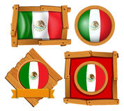 Mexico flag in different frame designs. Illustration Vector Illustration
