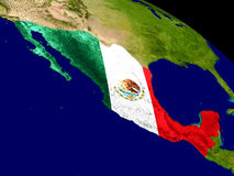 Mexico with flag on Earth Stock Image