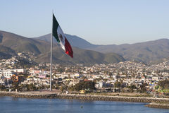 Mexico flag at Ensenada port Stock Photography