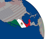 Mexico with flag on globe Stock Photo