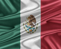 Mexico flag with a glossy silk texture. Royalty Free Stock Photography
