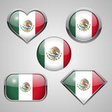 Mexico flag icons. Royalty Free Stock Images