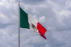 Mexico flag. Largest Mexican flag flying on the Texas Mexico border stock photo