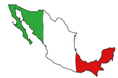Mexico flag map. Map of Mexico with Mexican flag colours Royalty Free Stock Photo