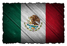 Mexico flag. Painted on wooden tag Royalty Free Stock Photo
