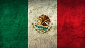 Mexico Flag on Paper. Flag on an old Paper Texture Royalty Free Stock Photos