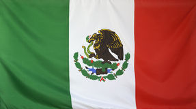 Mexico Flag real fabric Royalty Free Stock Photo