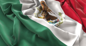 Mexico Flag Ruffled Beautifully Waving Macro Close-Up Shot. Studio Royalty Free Stock Image