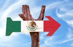 Mexico Flag sign with sky background Stock Images