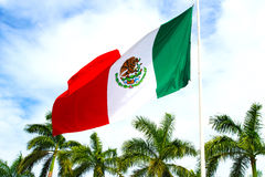 Mexico flag sky. stock photo