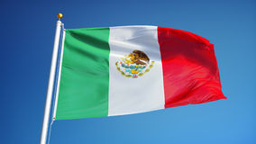 Mexico flag in slow motion seamlessly looped with alpha stock video