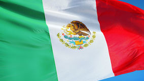 Mexico flag in slow motion seamlessly looped with alpha stock video footage