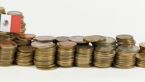 Mexico flag with stack of money coins. Mexico flag waving with stack of money coins stock footage
