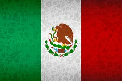 Mexico flag background for russian soccer event stock illustration