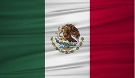 Mexico flag vector. Vector flag of Mexico blowig in the wind. Mexican flag background with cloth texture. EPS 10 Stock Photography