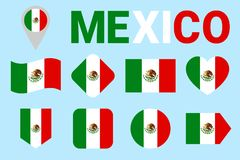 Mexico flag vector set. Mexican flags collection. Web, sports pages, national, travel, geographic, patriotic, design stock illustration