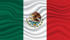 Mexico flag. Wavy and realistic Mexico flag isolated in white Stock Photos