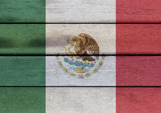 Mexico flag on a wood Stock Photography