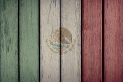 Mexico Flag Wooden Fence. Mexico Politics News Concept: Mexican Flag Wooden Fence stock photo