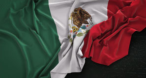 Mexico Flag Wrinkled On Dark Background 3D Render royalty free illustration