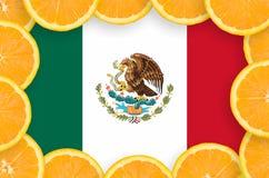 Mexico flagga i ny citrusfruktskivaram arkivbilder