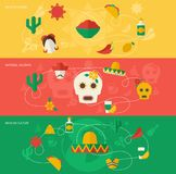 Mexico flat banner set. Mexico travel flat banner set with mexican cuisine national holidays culture isolated vector illustration Royalty Free Stock Photo