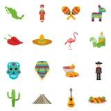 Mexico Flat Icon Set Stock Photography