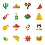 Mexico flat icons set stock illustration