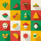 Mexico flat icons set Stock Photos