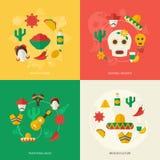 Mexico flat icons set Royalty Free Stock Photos