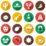 Mexico flat icons set Stock Photography