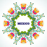 Mexico flowers ornament. Vector illustration. Stock Photos