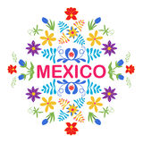 Mexico flowers, pattern and elements. Traditional Mexican orname. Nt. Vector illustration Stock Images