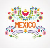 Mexico flowers, pattern and elements. Vector illustration Royalty Free Stock Photo