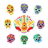 Mexico flowers, skull elements. Vector Royalty Free Stock Images
