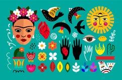 Mexico folk set. Vector illustration stock illustration