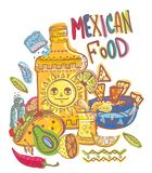 Mexico Food  illustrations collection. Mexico illustrations collection, colorful food elements for design Royalty Free Stock Photography