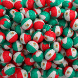 Mexico football balls (many). 3D render background. Mexico green, red, white football balls (many). 3D render background stock illustration