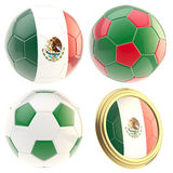 Mexico football team attributes isolated. Mexico football team set of four soccer ball attributes isolated on white Stock Photography