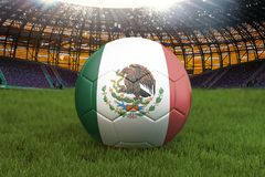 Mexico football team ball on big stadium background. Mexico Team competition concept. Mexico flag on ball team tournament in Mexic. O. Sport competition on green royalty free illustration