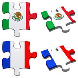 Mexico & French puzzle. 3d rendered Mexico and French puzzles isolated Royalty Free Stock Images