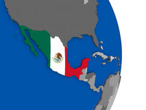 Mexico on globe with flag Royalty Free Stock Photo