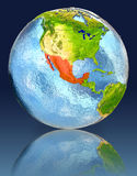 Mexico on globe with reflection. Illustration with detailed planet surface. Elements of this image furnished by NASA Stock Photography
