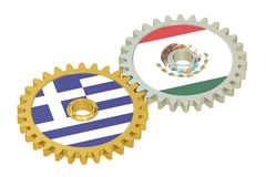 Mexico and Greece flags on a gears, 3D rendering Royalty Free Stock Images