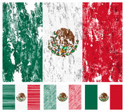 Mexico grunge flag set. On a white background. Vector illustration Royalty Free Stock Images