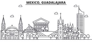 Mexico, Guadalajara architecture line skyline illustration. Linear vector cityscape with famous landmarks, city sights. Design icons. Editable strokes Stock Photos