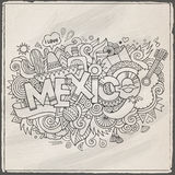 Mexico hand lettering and doodles elements Royalty Free Stock Images