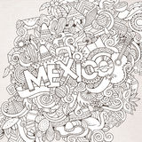 Mexico hand lettering and doodles elements. Mexico country hand lettering and doodles elements and symbols background. Vector hand drawn sketchy illustration Stock Images