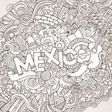 Mexico hand lettering and doodles elements Stock Image