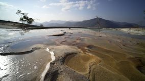 Mexico Hierve el Agua;. Panoram on nature mineral cascade with water,wide angle shot,  Mexico Hierve el Agua stock video